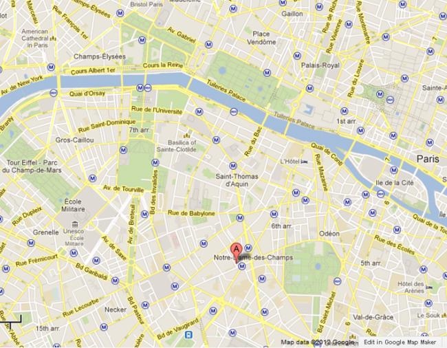 Hotel Le Saint Gregoire 6th Paris Hotels France Map Small