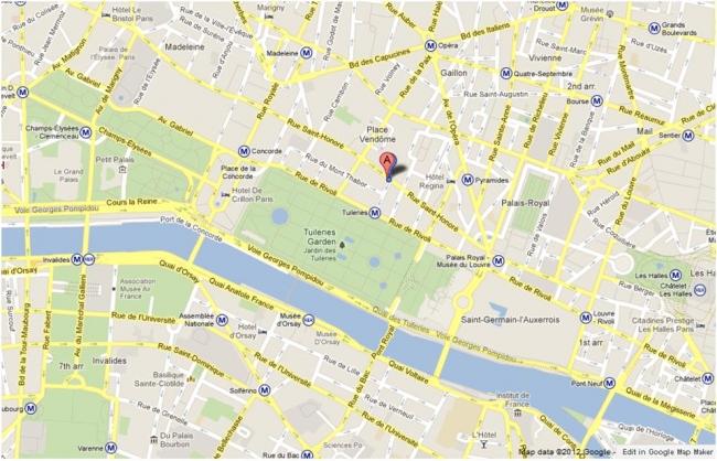 Hotel Royal Saint Honore 1st Paris Hotels France Map Small